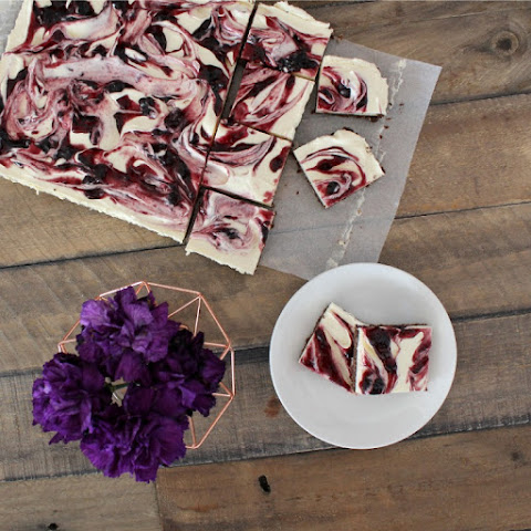 No-Bake Cheesecake Slice with Black Cherry & Vanilla Swirl
