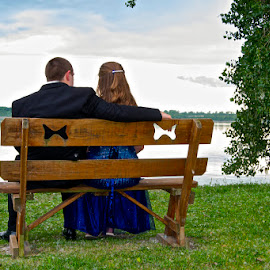 by Rick King - People Couples ( butterfly, park, bench, lake, prom, lake view, sit, park scene, dinner dance, sitting, tuxedo, dress, park bench, couple, view )