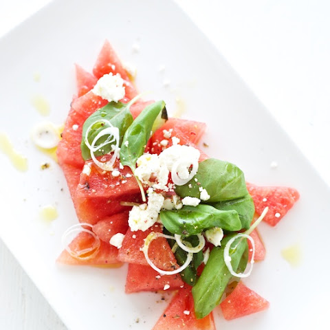 Watermelon with Feta + Basil