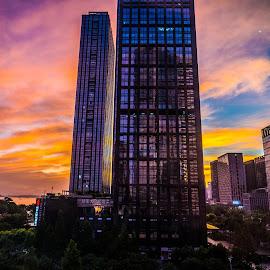 Sunrise by Kazuki Nakamura - Buildings & Architecture Office Buildings & Hotels ( sky, sunrise, skyscraper, skyline, office, clouds )