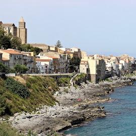 Cefalù coastline. by Peter DiMarco - City,  Street & Park  Vistas ( vistas, waterscape, landscape, rocks, city )