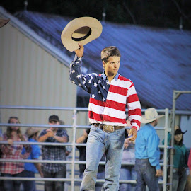 Captain America by Brian  Shoemaker  - People Street & Candids ( bull rider, winning, cowboy, rodeo )