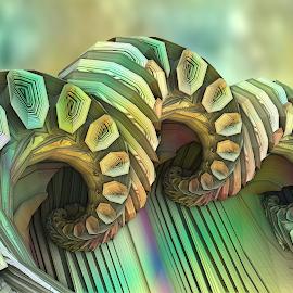 Leave a Trail by Glenda Popielarski - Illustration Abstract & Patterns ( 3d, mandelbulb 3d, green, abstract art, abstracts, mandelbulb, fractal, yellow, fractals, digital art )