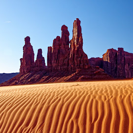Monument Valley Sunrise by Kevin Whitaker - Landscapes Deserts ( monument valley, desert, travel, sunrise )