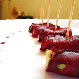Beetroot Paneer Rolls in stick by Alok Kunwar - Food & Drink Plated Food ( plated, food, beetroot, shine, pink )