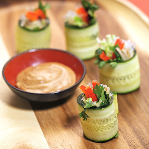 "Summer Rolls with Ginger ""Peanut"" Sauce"