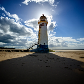 Talacre lighthouse by Steven Stamford - Landscapes Beaches ( point of ayr, lighthouse, beach, wales, talacre, welsh lighthouse, welsh, light house )