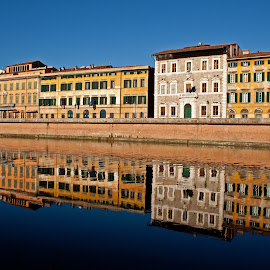 Lungarno Pisa (Italy) by Gianluca Presto - Buildings & Architecture Homes ( old house, home, water reflection, reflection, old, tuscany, old town, cityscape, house, architecture, historic, city, mirror, ancient, buildings, pisa, homes, italy, water, building, houses, architectural detail, historical, arno, river )