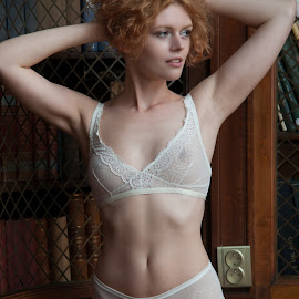 Book Library by Tomas Fensterseifer - Nudes & Boudoir Boudoir ( old house, lingerie, library, redhead )