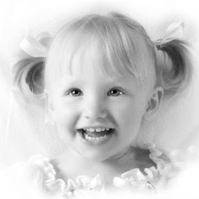 Black and White Potrait  by Lisa Kirkwood - Babies & Children Child Portraits ( girl, black and white, happy, smile, portrait )