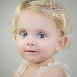 Girl with blue eyes by Nathalie Rouquette - Babies & Children Child Portraits ( girl, blue, blond, smile, cute )