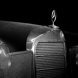Waiting in the darkness by Lachlan Hudson - Transportation Automobiles ( car, fintail, automotive, classic car, black and white car, chrome, vintage car, w111, 230s,  )