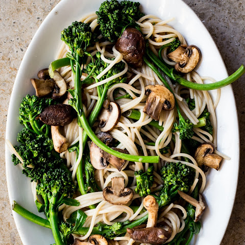 Spring Broccoli Rabe and Mushroom Pasta with Ginger Miso Sauce