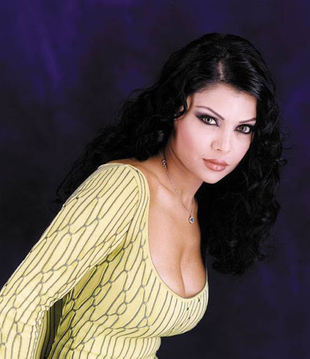 Arab Model Haifaa Wehbe in a dark room