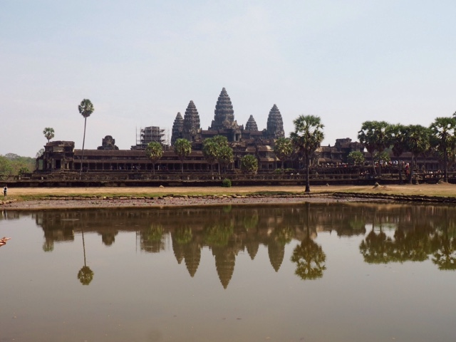 Angkor Wat with reflection in water, Cambodia