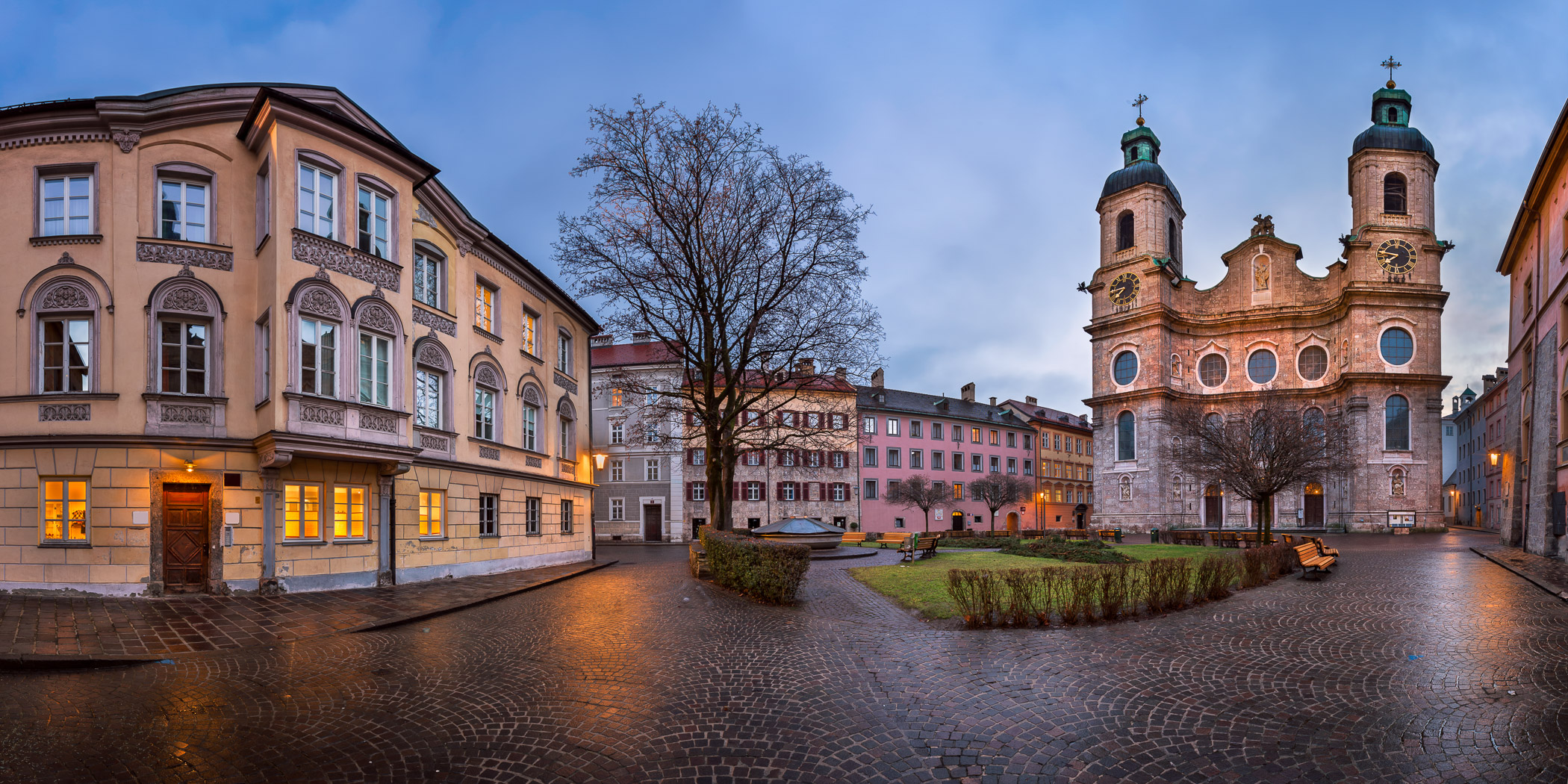 Panorama of Domplatz Square and Saint Jacob Cathedral in the Morning, Innsbruck, Tirol, Austria