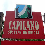 entrance sign at the Capilano Suspension Bridge in North Vancouver, British Columbia, Canada