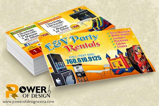 businesscards #customdesign EV Party Rental #party #rentals #jum - party rental flyer