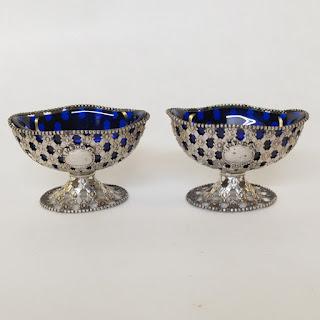 Sterling Silver & Cobalt Glass Pierced Salt Cellar Pair