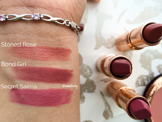 charlotte tilbury stoned rose, bond girl, secret salma lipstick swatches nc40 medium skin tone