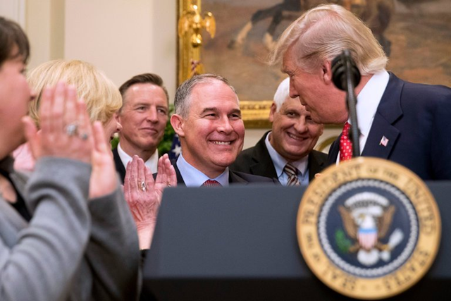President Trump and the Environmental Protection Agency administrator, Scott Pruitt, at the White House in February 2017. Photo: Andrew Harnik / Associated Press
