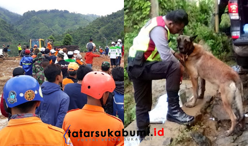Proses evakuasi korban bencana longsor Cisolok Sukabumi / Foto : Isep Panji