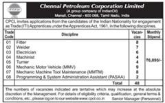 CPCL Apprentices 2017 indgovtjobs