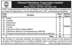 CPCL Apprentices 2020 indialjobs