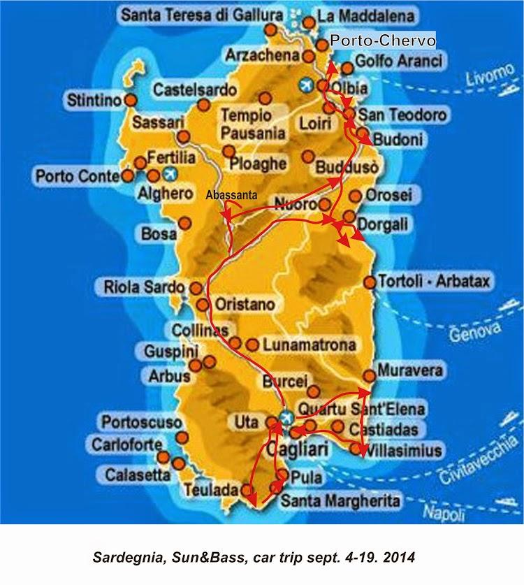 Карта Сардинии