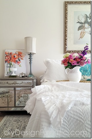 Spring Master bedroom, cottage, cottage style, farmhouse, farmhouse style, white master bedroom , diyDesignFanatic.com