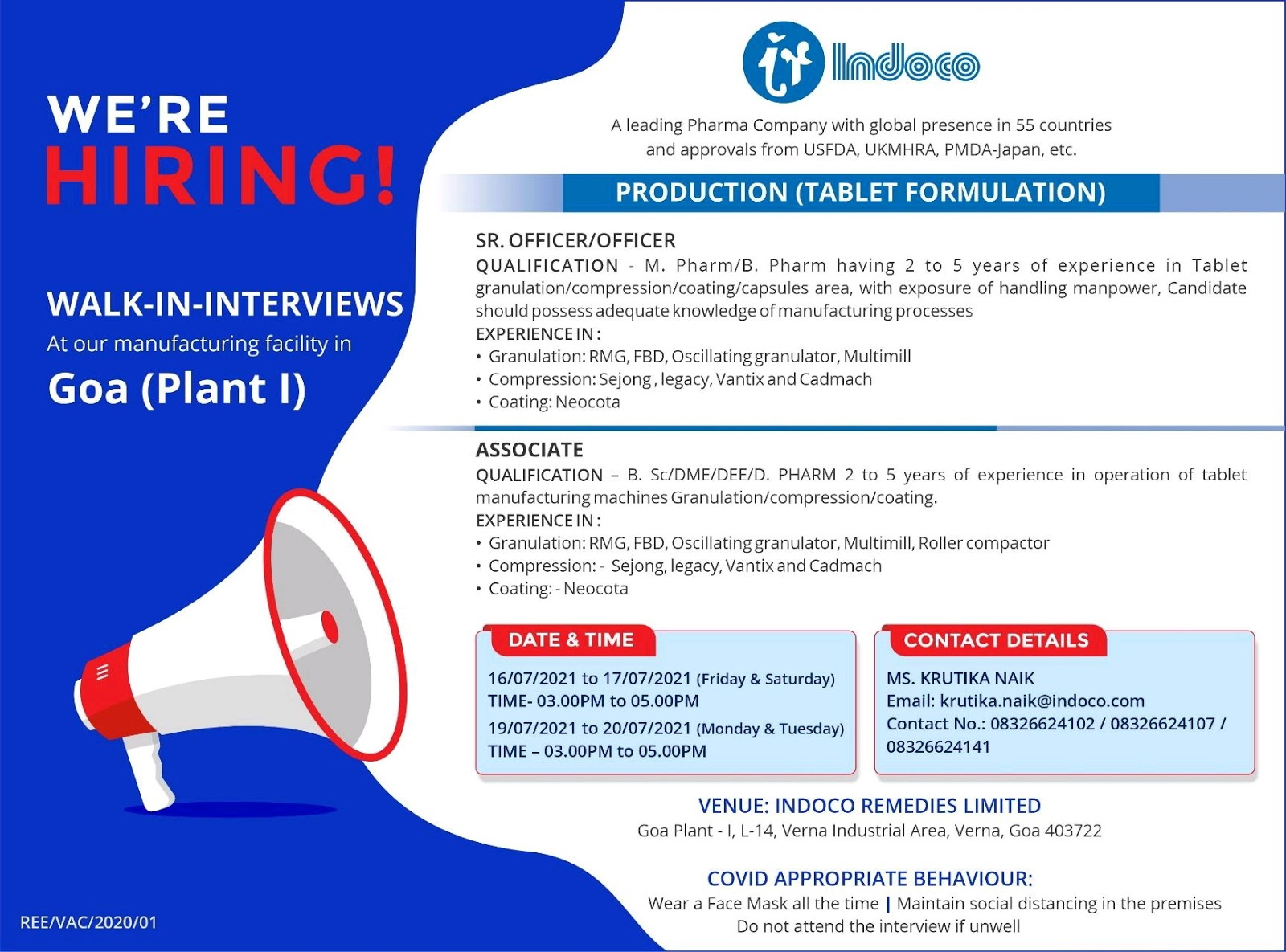 Walk-in For Production-Tablet Formulation At Indoco Remedies
