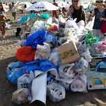 garbage pile on the beach at Yuigahama Beach in Kamakura, Japan in Kamakura, Kanagawa, Japan
