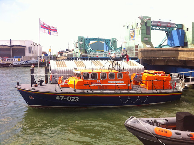 Poole's Tyne class lifeboat gleaming after a good wash following a Sunday morning exercise on 9 June 2013. Photo: RNLI Poole/Dave Riley