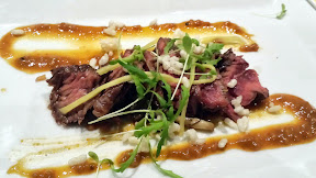 "$6 instead of $10 at Bamboo Sushi Happy Hour: ""karashi"" hanger, a marinated and grilled St Helens hanger steak with asian mustard mushrooms and puffed rice"