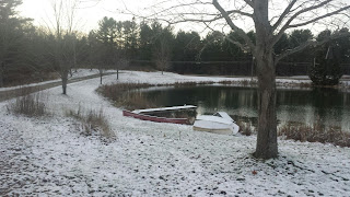 pond with light snow fall