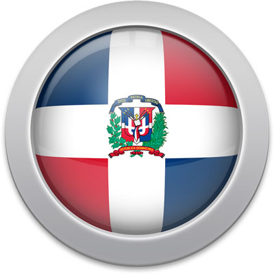 Dominican flag icon with a silver frame