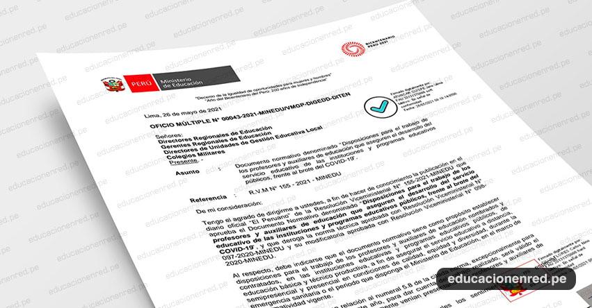 OFICIO MÚLTIPLE N° 00043-2021-MINEDU/VMGP-DIGEDD-DITEN .- Precisiones sobre la Resolución Viceministerial N° 155-2021-MINEDU