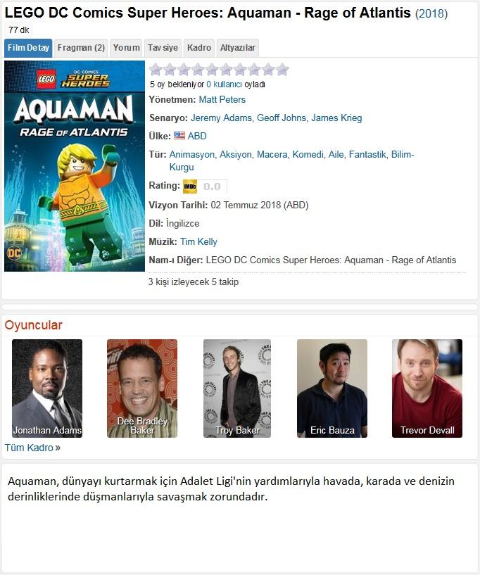 LEGO DC Comics Süper Kahramanlar Aquaman Atlantisin Öfkesi 2018 - 1080p 720p 480p - Türkçe Dublaj Tek Link indir