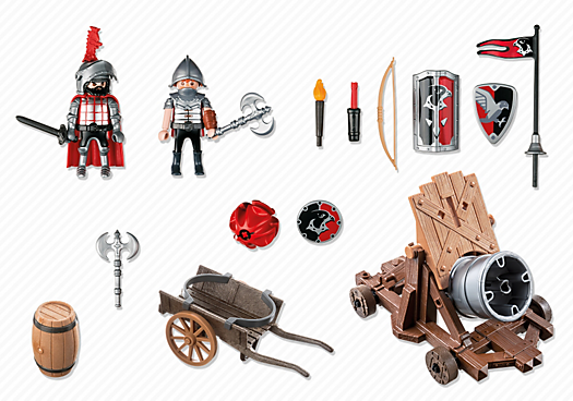 Contenido real de Playmobil® 6038 Caballeros del Halcón con Cañón