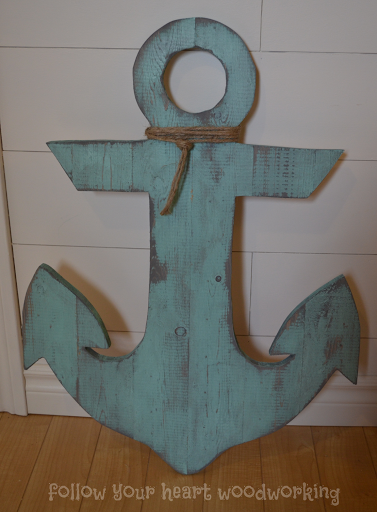 Turquoise Anchor with Grey Stain