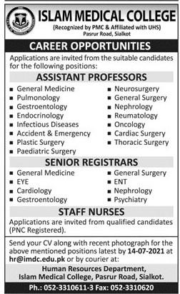 Islam Medical College Sialkot Jobs 2021