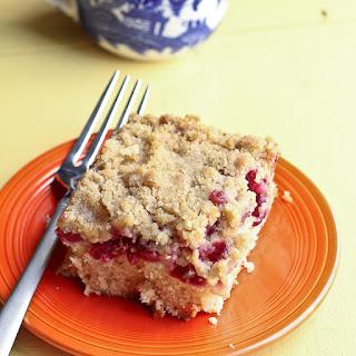 Crumb Cake with White Chocolate Chunks and Sour Cherries