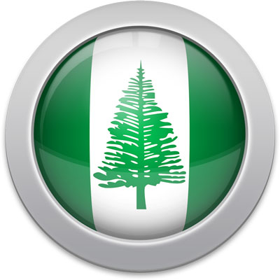 Norfolk Island flag icon with a silver frame