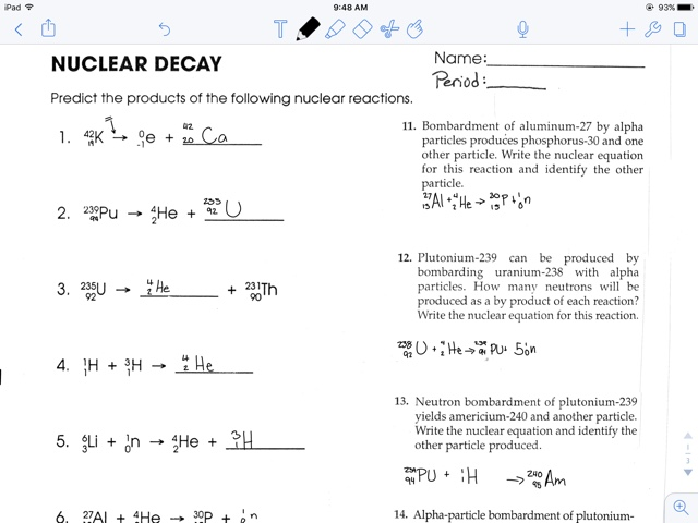 Bryn Dagostino Nuclear Decay Half Lives Worksheet