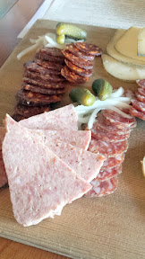 Clyde Common + Olympia Provisions charcuterie plate, here the board also happened to include some Ancient Heritage Dairy cheeses