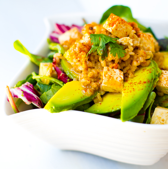 this spicy peanut tofu rice salad twirl of avocado is a rockstar salad ...