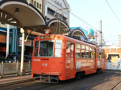 伊予鉄道 松山市内線 66形 新塗装 松山市駅にて