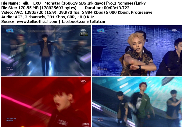 Download [Perf] EXO – Monster + Encore @ SBS Inkigayo 160619