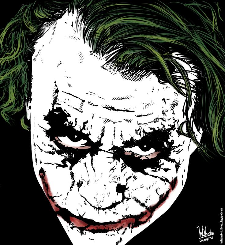 Ink drawing of Joker, using Krita 2.4