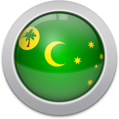 Cocos Island  flag icon with a silver frame